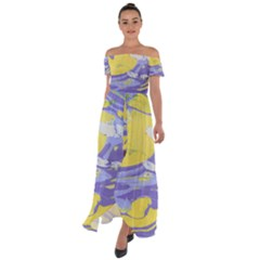 Yellow And Purple Paint Off Shoulder Open Front Chiffon Dress