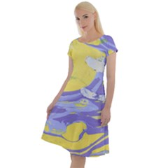 Yellow And Purple Paint Classic Short Sleeve Dress