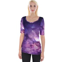 Purple Space Wide Neckline Tee