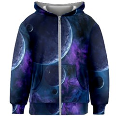Blue Space Kids  Zipper Hoodie Without Drawstring by goljakoff