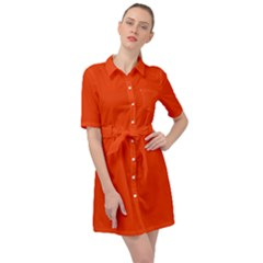 Cherry Tomato Belted Shirt Dress