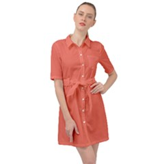 Peach Echo Belted Shirt Dress
