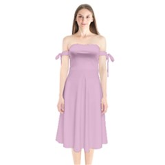 Pink Shoulder Tie Bardot Midi Dress