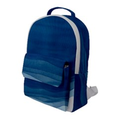 Abstract Blue Waves Flap Pocket Backpack (large)
