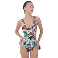 Summer Surfing Pattern Side Cut Out Swimsuit