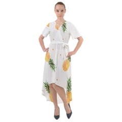 Pineapples Pattern Front Wrap High Low Dress