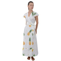 Pineapples Pattern Flutter Sleeve Maxi Dress