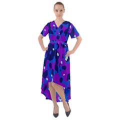 Abstract Organic Pattern Front Wrap High Low Dress
