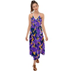 Abstract Organic Pattern Halter Tie Back Dress