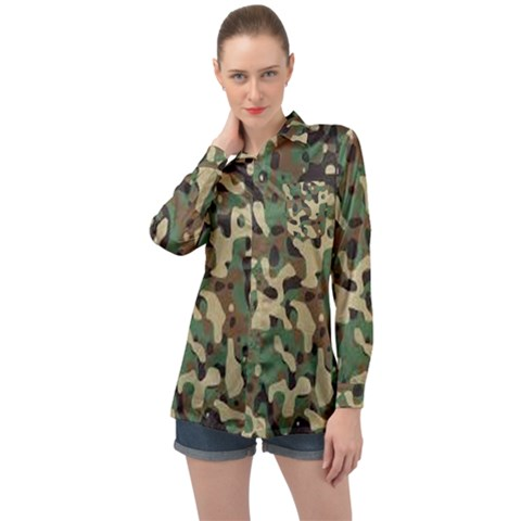 Army Pattern  Long Sleeve Satin Shirt by myuique