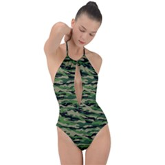 Camouflage Plunge Cut Halter Swimsuit by designsbymallika