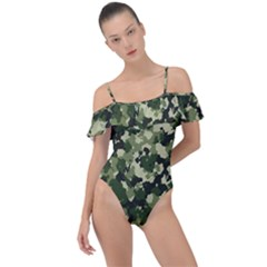 Dark Green Camouflage Army Frill Detail One Piece Swimsuit