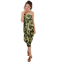Dark Green Camouflage Army Waist Tie Cover Up Chiffon Dress