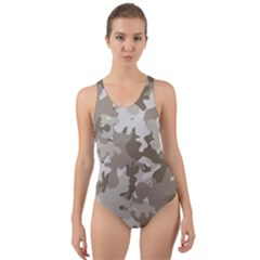 Tan Army Camouflage Cut-out Back One Piece Swimsuit by mccallacoulture