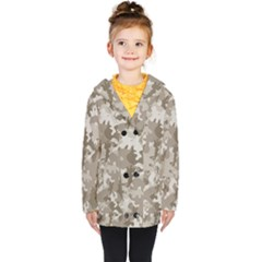 Tan Army Camouflage Kids  Double Breasted Button Coat