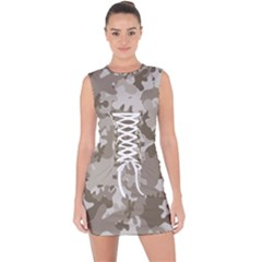 Tan Army Camouflage Lace Up Front Bodycon Dress by mccallacoulture