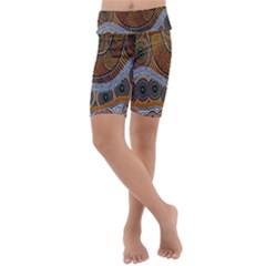 Aboriginal Traditional Pattern Kids  Lightweight Velour Cropped Yoga Leggings by Sapixe