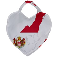 Monaco Country Europe Flag Borders Giant Heart Shaped Tote
