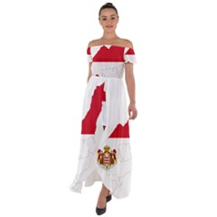 Monaco Country Europe Flag Borders Off Shoulder Open Front Chiffon Dress