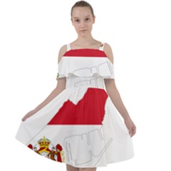 Monaco Country Europe Flag Borders Cut Out Shoulders Chiffon Dress