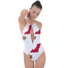Monaco Country Europe Flag Borders Plunge Cut Halter Swimsuit by Sapixe