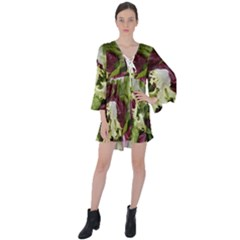 Salad Lettuce Vegetable V-neck Flare Sleeve Mini Dress