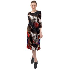 Confederate Flag Usa America United States Csa Civil War Rebel Dixie Military Poster Skull Ruffle End Midi Chiffon Dress