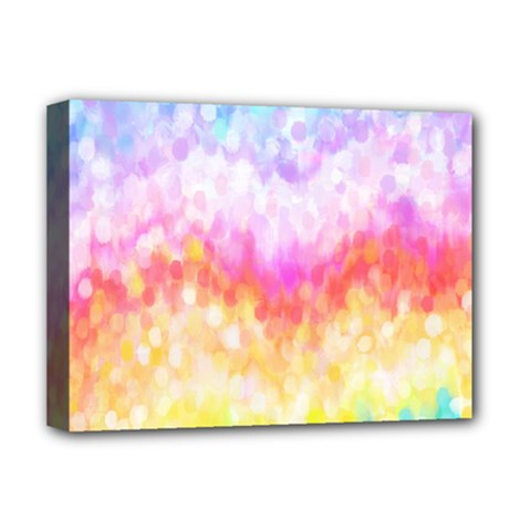 Rainbow Pontilism Background Deluxe Canvas 16  X 12  (stretched)  by Sapixe