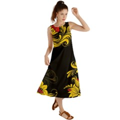 Native Russian Flowers Khokhloma Summer Maxi Dress