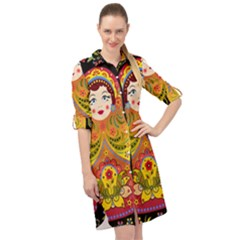 Russian Nesting Doll Long Sleeve Mini Shirt Dress