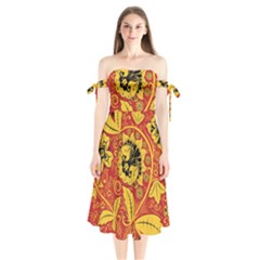 Traditional Russian Floral Khokhloma Shoulder Tie Bardot Midi Dress