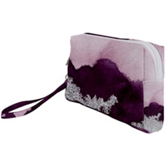 Purple Watercolor Silver Foil Wristlet Pouch Bag (small) by goljakoff