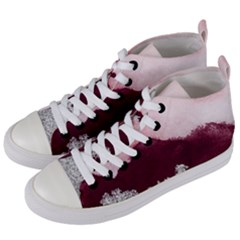 Red Watercolor Silver Foil Women s Mid-top Canvas Sneakers by goljakoff
