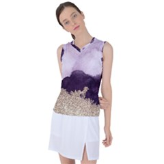 Purple Watercolor Gold Foil Women s Sleeveless Mesh Sports Top by goljakoff