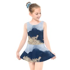 Blue Watercolor Gold Foil Kids  Skater Dress Swimsuit by goljakoff