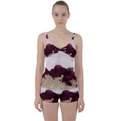 Red Watercolor Gold Foil Tie Front Two Piece Tankini