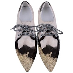 Black Watercolor Gold Foil Women s Pointed Oxford Shoes