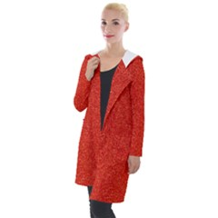 Red Glitter Hooded Pocket Cardigan