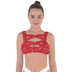 Red Glitter Bandaged Up Bikini Top