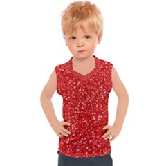 Red Glitter Kids  Mesh Tank Top