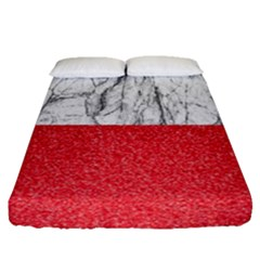 Red Glitter Pattern Fitted Sheet (queen Size) by goljakoff