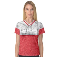 Red Glitter Pattern V Neck Sport Mesh Tee