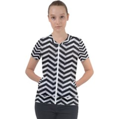 Chevrons Leaf Silver Black 01 Short Sleeve Zip Up Jacket