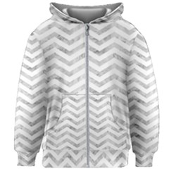Chevrons Leaf Silver White 01 Kids  Zipper Hoodie Without Drawstring by goljakoff