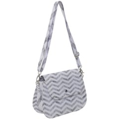 Chevrons Leaf Silver White 01 Saddle Handbag