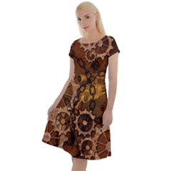 Steampunk Patter With Gears Classic Short Sleeve Dress