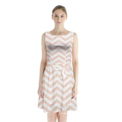 White Blush Chevron Sleeveless Waist Tie Chiffon Dress by goljakoff