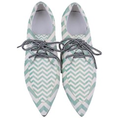 White Mint Chevron Women s Pointed Oxford Shoes