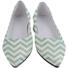 White Mint Chevron Women s Block Heels