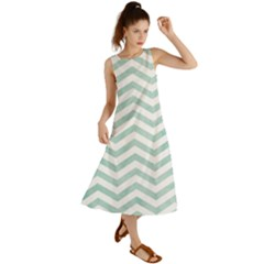 White Mint Chevron Summer Maxi Dress